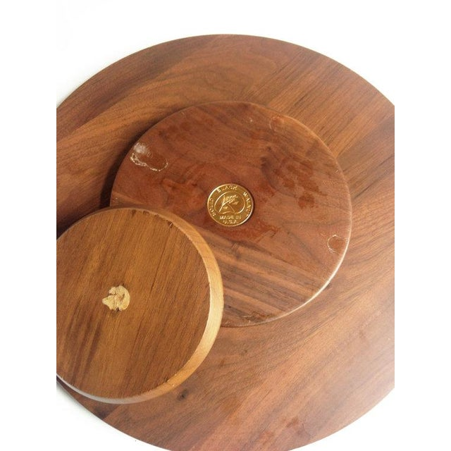 Mid-Century Walnut Lazy Susan Dip Tray - Image 6 of 6
