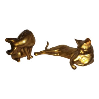Mid-Century Modern Gold Leaf Cats by Anthony - A Pair