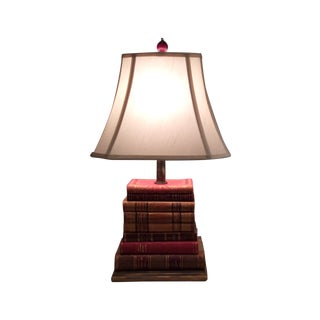 Lamp Made of Antique Leather-Bound Books