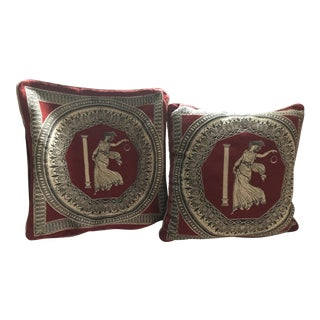Custom Vienna Red & Gold Neoclassical Pillow Covers - A Pair