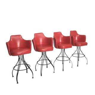 Mid-Century Red Swivel Bar Stools - Set of 4