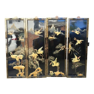 Vintage Chinoiserie Style 4 Panel Wall Art