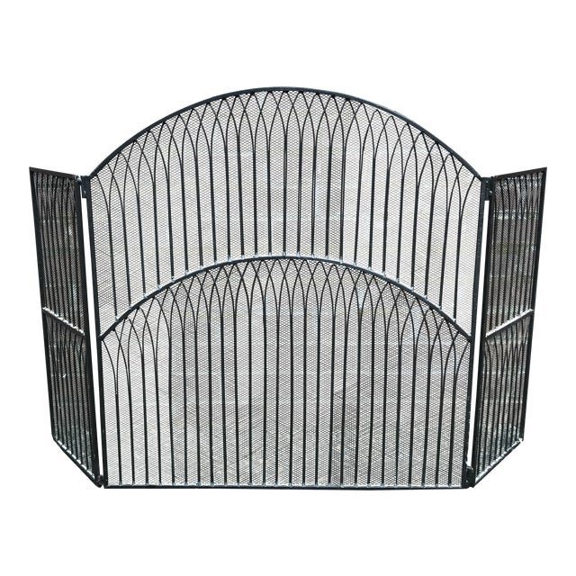 Black Iron Fireplace Screen - Image 1 of 5