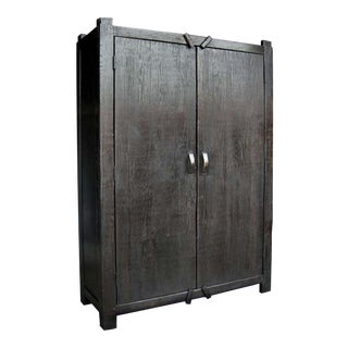 Custom Large Primitive Modern Armoire/Cabinet/Wardrobe in Ebony Finish
