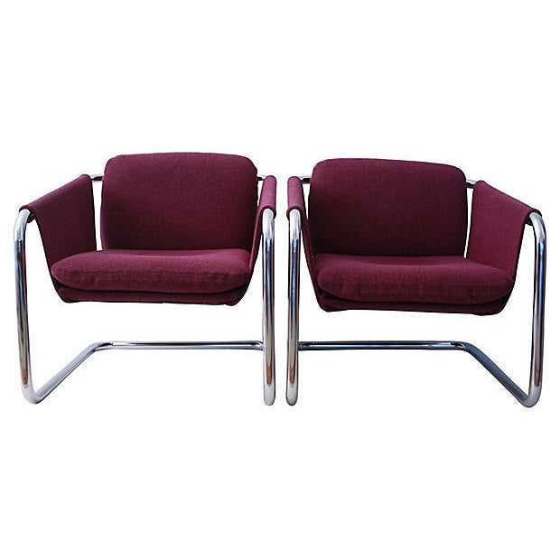 Image of 1980s Postmodern Cantilevered Chairs - A Pair