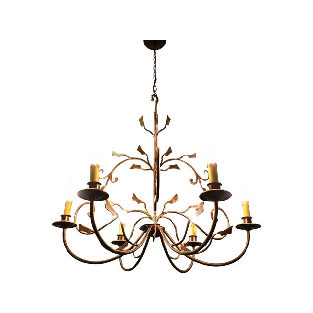 Image of 6-Light Bronze Iron Foliage Chandelier