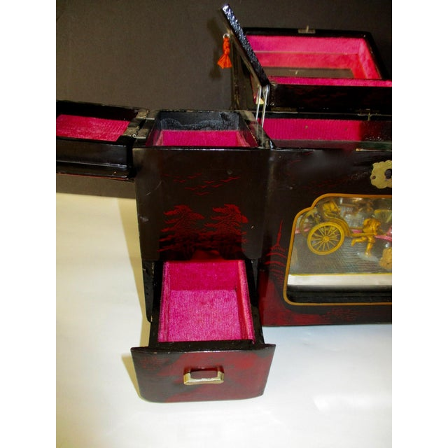 Asian Black Lacquer Jewelry Music Box - Image 7 of 11