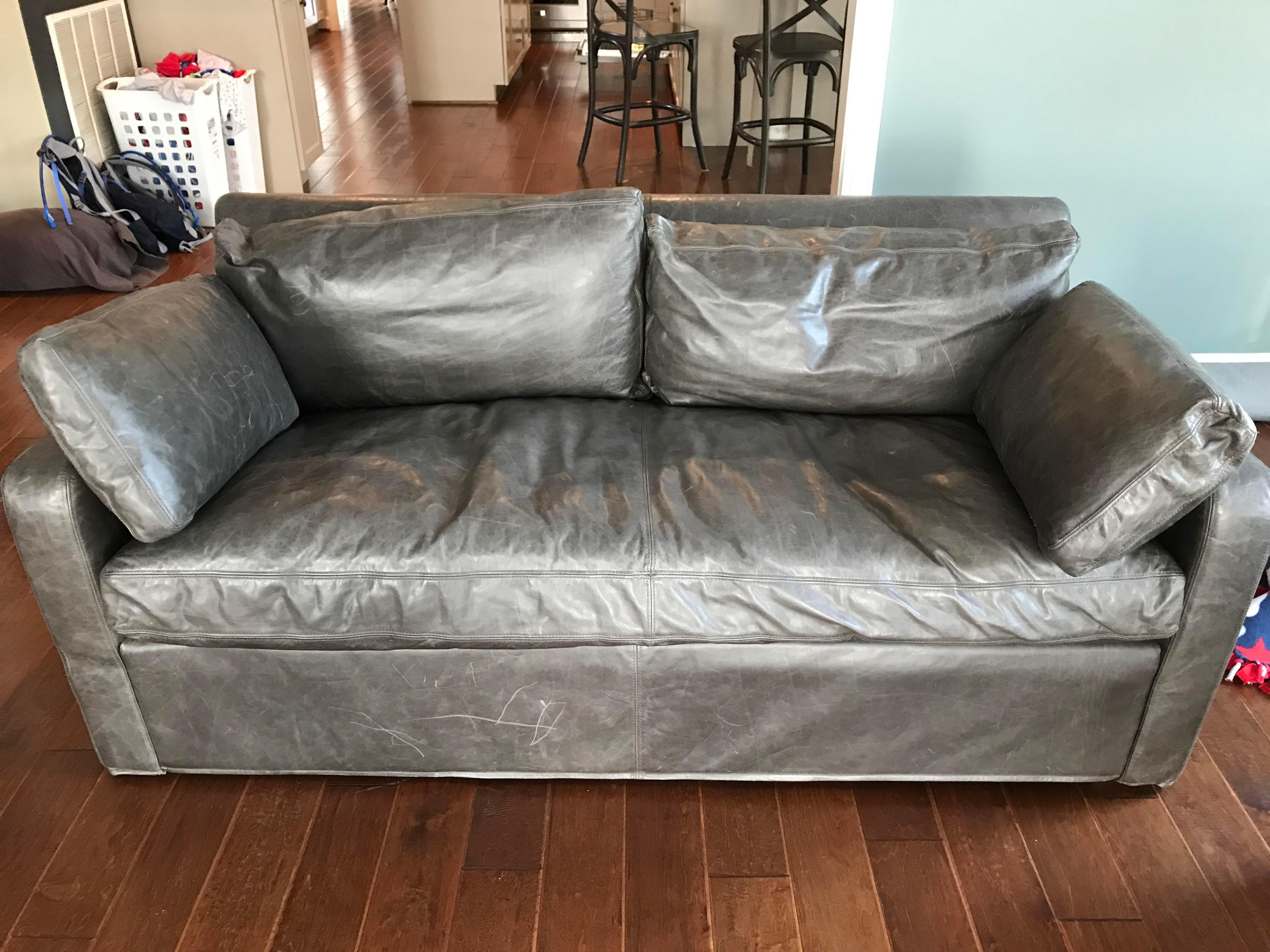 Restoration Hardware Belgium Slope Arm Leather Sofa   Image 2 Of 3