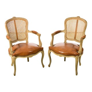 Louis XV Style Cane Back Fauteuil Chairs W/ Leather Seats- a Pair