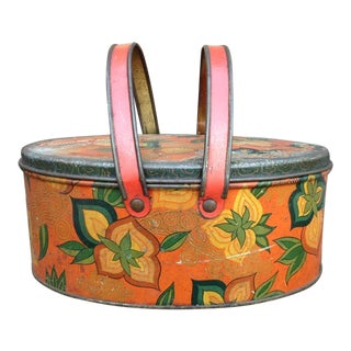 Vintage Orange Metal Lunch Box