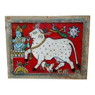 Vintage Beaded Hindu Cow Painting