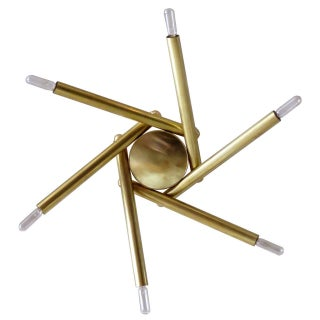 Spiral Six-Arm Brass Flush Mount