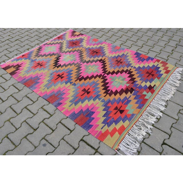 Hand-Woven Turkish Diamond Kilim Rug - 4′7″ × 6′4″ - Image 2 of 9