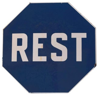 "Enamel ""REST"" Sign"