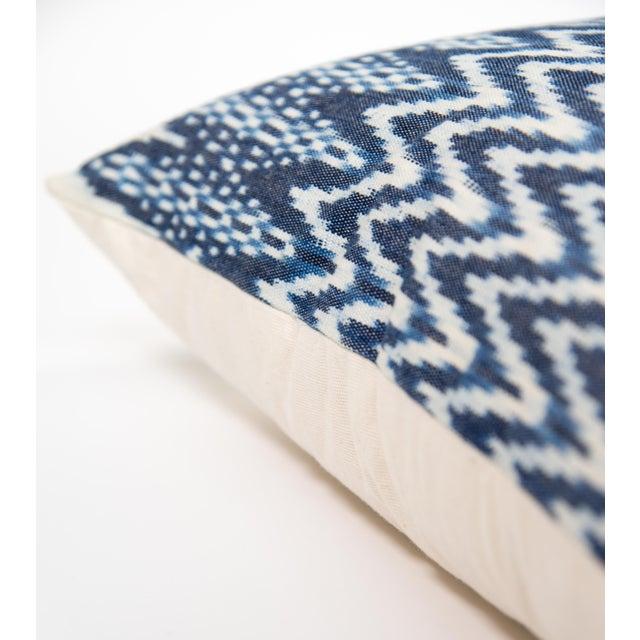Zigzag Indigo Ikat Handwoven Guatemalan Pillow - Image 3 of 8