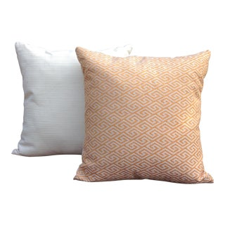 Golden Greek Key Print Pillows - a Pair