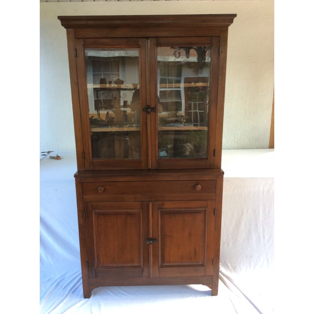 Image of Vintage Walnut & Glass Door Cupboard Hutch