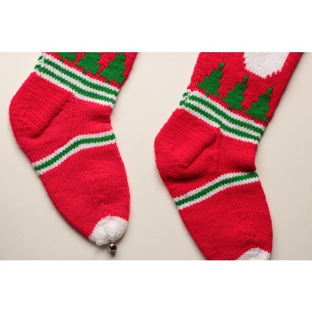 Vintage Hand-Knit Santa & Reindeer Stockings - A Pair - Image 6 of 8