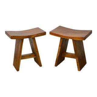 Hardwood Saddle Seat Benches - a Pair