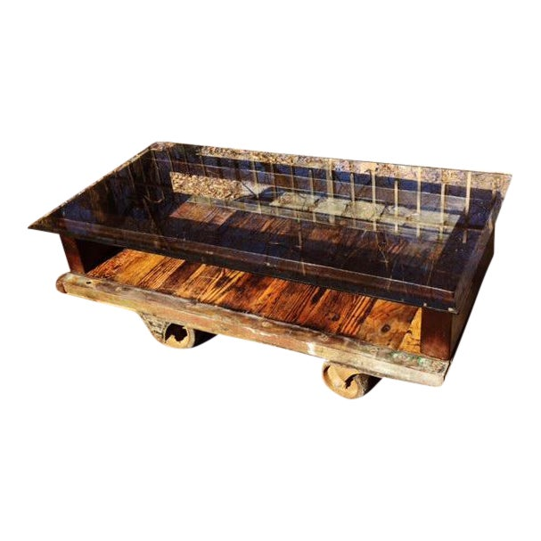 Antique Industrial Cart Coffee Table: Vintage Industrial Factory Cart Coffee Table