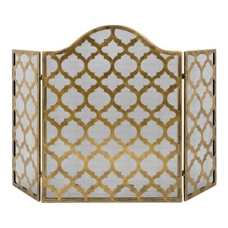 Decorative Metal Moroccan Trellis Fireplace Screeen
