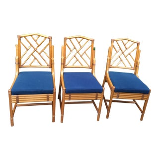 Chippendale Rattan Side Chairs - Set of 3