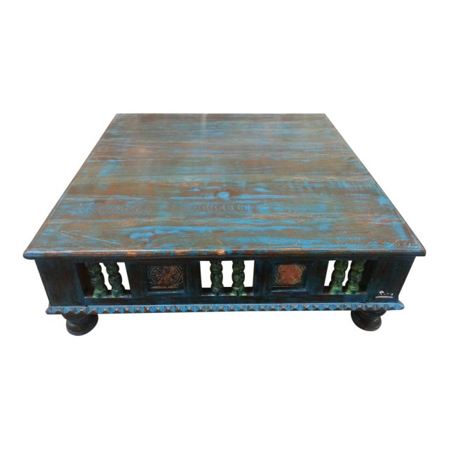 Image of Antique Finish Teak Wood Low Table