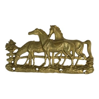 Vintage Brass Horses Key Holder