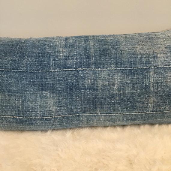Vintage Indigo Mud Cloth Textile Pillow - Image 4 of 5