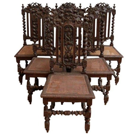 1880 Hunting Renaissance Dining Chairs - Set of 6 - Image 1 of 9