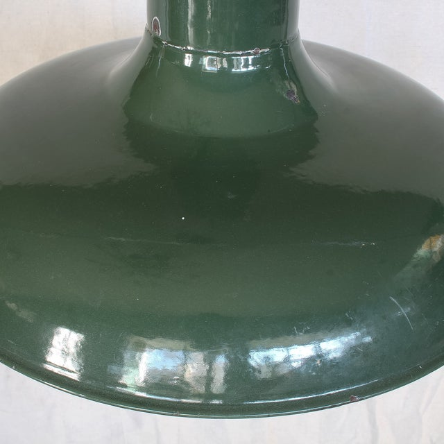 Vintage Industrial Green Enamel Barn Lamp Shade - Image 3 of 9