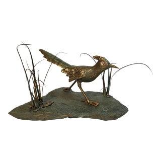 Mid-Century Bronze Roadrunner Sculpture Singed Norbert Roessler