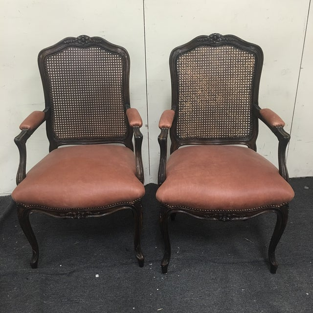 French Style Cane Arm Chairs A Pair Chairish