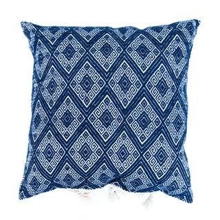 "Navy Diamonds Handwoven Pillow - 18"" X 18"""
