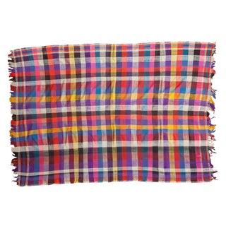 "Vintage Moroccan Plaid Textile Throw Rug - 5' x 6'10"""