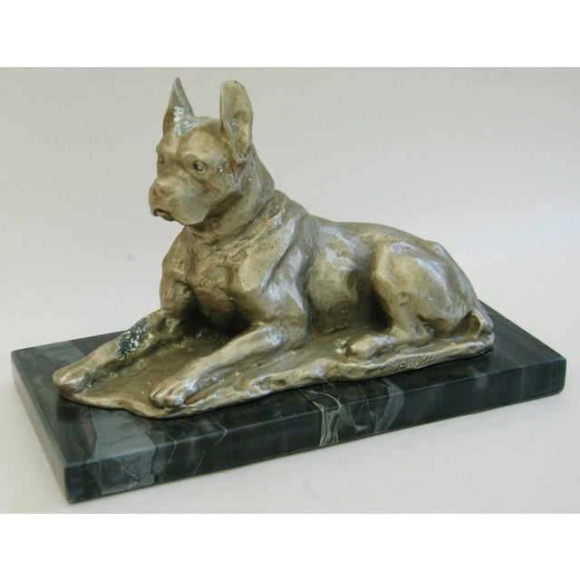 Image of 1950's Cast Metal Dog on Marble Base