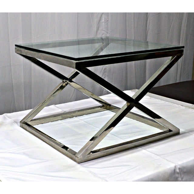 Stainless Steel & Glass Top Square Crossing Table - Image 7 of 8