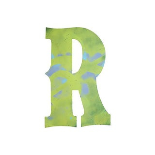 Large Lime-Yellow Metal Marquee Letter R