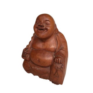 Vintage Wood Carved Buddha Hotei Japanese Laughing Buddha Statue