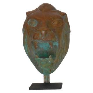 1960s Bronze Lion Head Statue