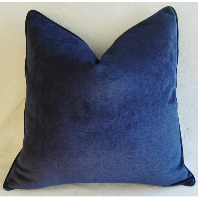 Large Designer Midnight Blue Velvet Feather/Down Pillows - Pair - Image 9 of 10