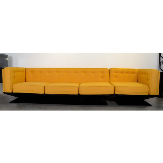 Image of Upholstered in a New Yellow Knoll Wool MIM Roma (Ico Parisi) Sectional Sofa by Luigi Pellegrin