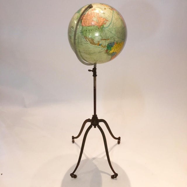 Image of Vintage German Globe on Iron Wheels