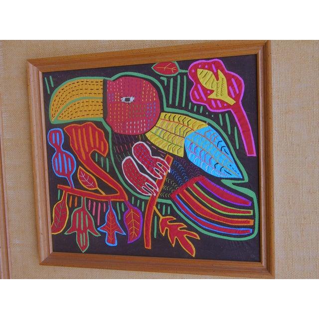Mid-Century Framed Kuna Mola Textile Art - Image 3 of 5