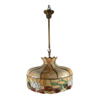 "Vintage ""Tiffany"" Style Edwardian Dome Light Fixture"