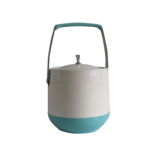1950's White and Turquoise Ice Bucket