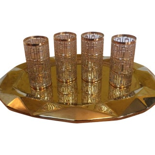 Shoji Mid-Century 24KT Gold Glasses - Set of 4