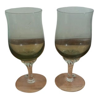 Hand Polished Hand Blown Wine Glasses- A Pair