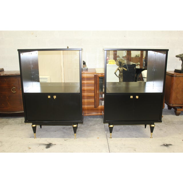 French Art Deco Sideboard Display Cabinets - A Pair Circa 1940s - Image 3 of 12