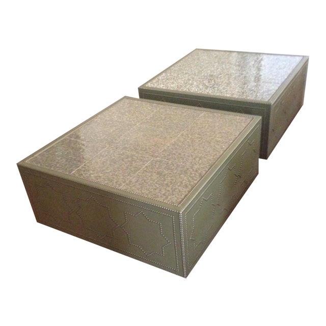 Image of Frank Roop Designed Leather & Mother of Pearl Coffee Table